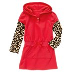 Leopard Sleeve Fleece Hoodie Dress