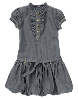 Girls Chambray Chambray Belted Bubble Dress by Gymboree
