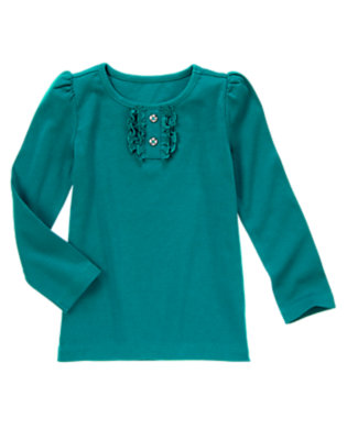 Peacock Blue Gem Button Tee by Gymboree