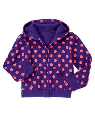 Girls Purple Freesia Dot Polka Dot Jersey Lined Hoodie by Gymboree