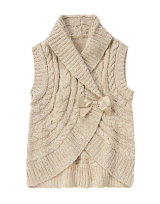 Girls Oatmeal Heather Bow Cable Sweater Vest by Gymboree