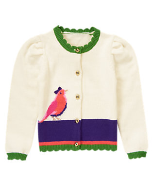 Vanilla Ivory Bird Colorblock Sweater Cardigan by Gymboree
