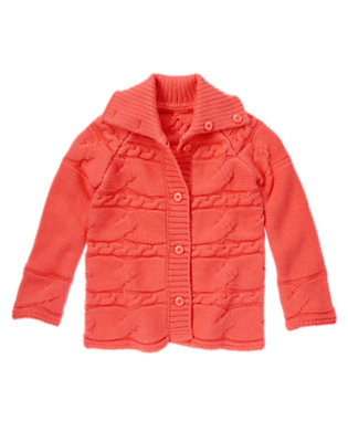 Girls Melon Pink Cable Sweater Cardigan by Gymboree