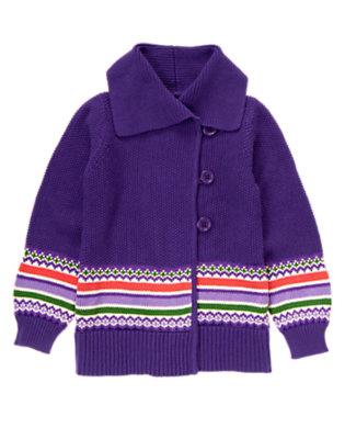 Girls Purple Freesia Fair Isle Sweater Duster by Gymboree