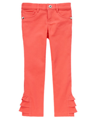 Melon Pink Gem Ruffle Colored Jean by Gymboree