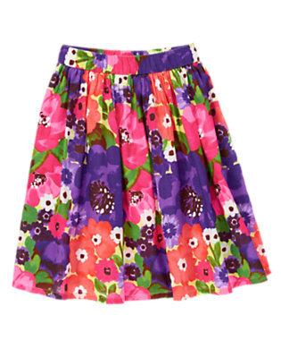 Girls Purple Freesia Floral Watercolor Flower Skirt by Gymboree