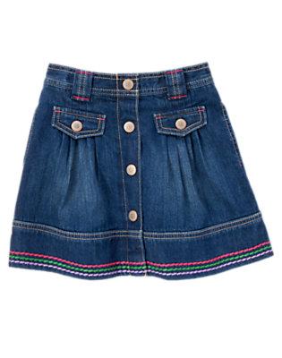 Girls Denim Embroidered Jean Skirt by Gymboree