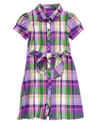 Girls Fern Green Plaid Plaid Shirt Dress by Gymboree