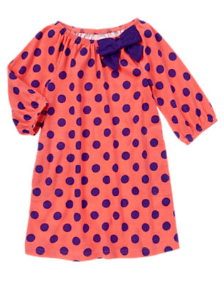 Girls Melon Pink Dot Bow Polka Dot Dress by Gymboree