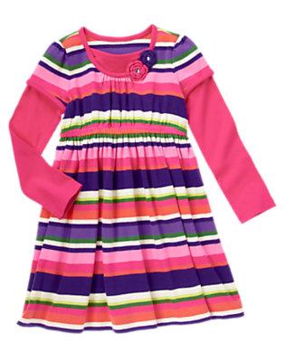 Girls Plume Pink Stripe Gem Crochet Flower Stripe Dress by Gymboree