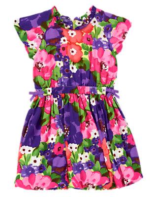 Girls Purple Freesia Floral Watercolor Flower Bubble Dress by Gymboree