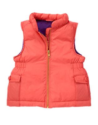 Girls Melon Pink Cargo Pocket Puffer Vest by Gymboree