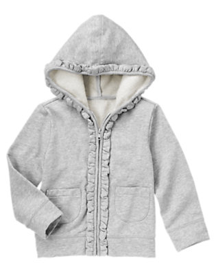 Girls Silver Sparkle Fleece Hoodie by Gymboree
