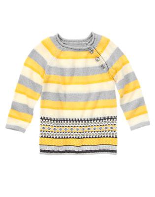 Girls Marigold Yellow Stripe Sparkle Stripe Fair Isle Sweater by Gymboree