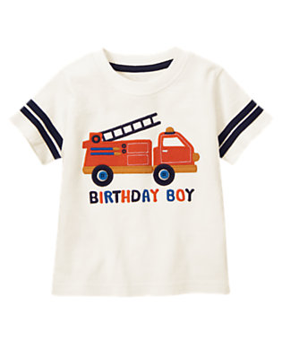 Toddler Boys Ivory Birthday Boy Fire Truck Tee by Gymboree