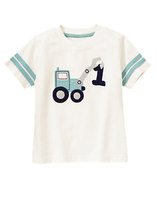 Toddler Boys Ivory 1st Birthday Digger Tee by Gymboree