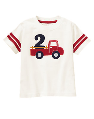Toddler Boys Ivory 2nd Birthday Truck Tee by Gymboree