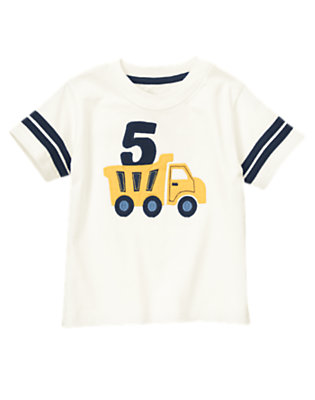 Toddler Boys Ivory 5th Birthday Dump Truck Tee by Gymboree