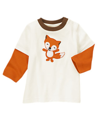 Ivory Fox Double Sleeve Tee by Gymboree