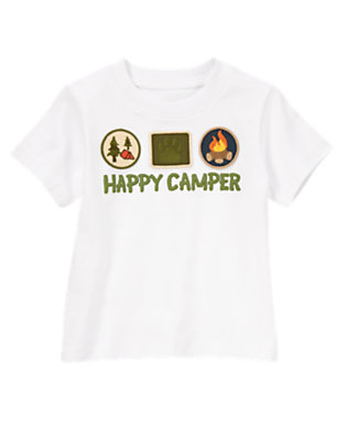 White Short Sleeve Happy Camper Tee by Gymboree