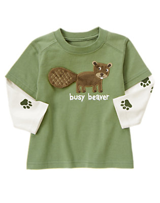 Spruce Green Double Sleeve Busy Beaver Tee by Gymboree
