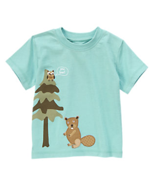 Kayak Blue Short Sleeve Beaver & Owl Tee by Gymboree