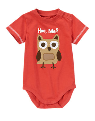 Campfire Red Short Sleeve Owl Bodysuit/Tee by Gymboree