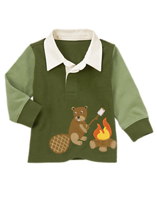 Moss Green Campfire Beaver Rugby Shirt by Gymboree