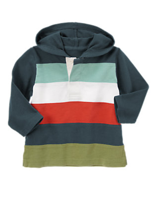 Soft Navy Pieced Stripe Rugby Hoodie by Gymboree