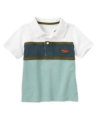 Ivory Jeep Pieced Stripe Pique Polo Shirt by Gymboree