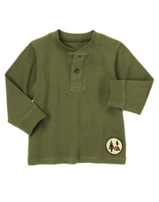 Toddler Boys Moss Green Campground Patch Henley Tee by Gymboree