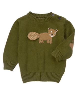 Moss Green Beaver Sweater by Gymboree