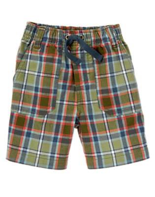 Spruce Green Plaid Plaid Pull-On Short by Gymboree