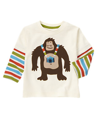 White Double Sleeve Ape With Camera Tee by Gymboree