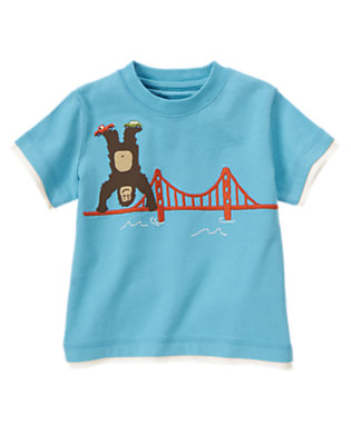 Toddler Boys Skyscraper Blue Handstand Ape Tee by Gymboree