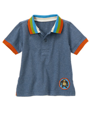 Heather Blue Ape Patch Polo Shirt by Gymboree
