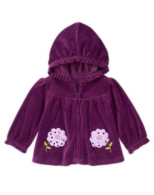 Baby Dark Purple Flower Velour Hoodie by Gymboree