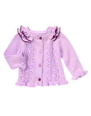 Baby Lavender Ruffle Sweater Cardigan by Gymboree