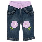 Flower Knee Denim Jean