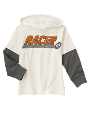 Ivory Hooded Double Sleeve Racer Tee by Gymboree