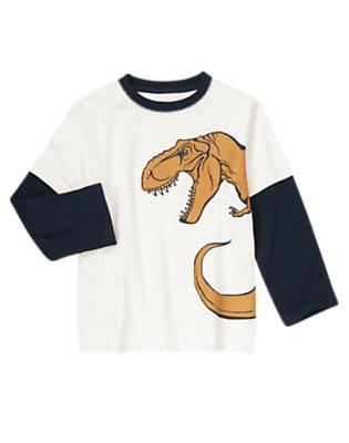 Ivory Big Dino Double Sleeve Tee by Gymboree