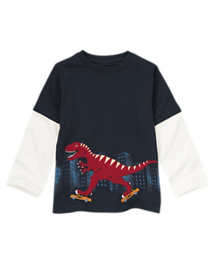 Gym Navy City Dino Double Sleeve Tee by Gymboree