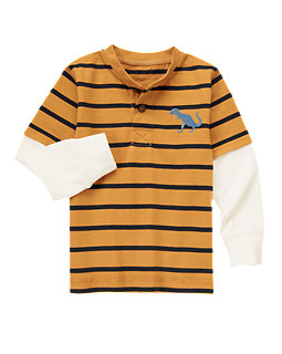 Dino Stripe Double Sleeve Henley Tee