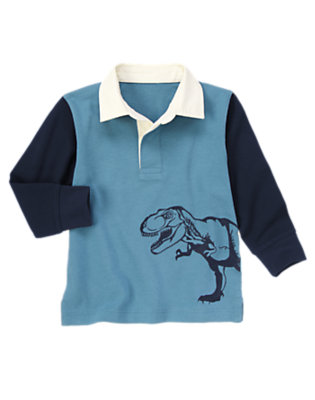 Dino Blue Dinosaur Colorblock Rugby Shirt by Gymboree