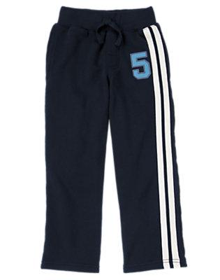 Boys Gym Navy Athletic Stripe Fleece Pant by Gymboree
