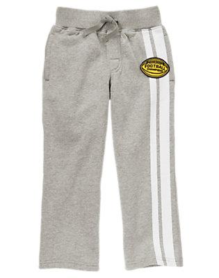 Boys Heather Grey Football Athletic Stripe Fleece Pant by Gymboree
