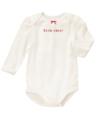 Baby Ivory Little Sister Bodysuit by Gymboree