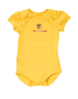 Baby Bright Yellow I Heart Daddy Hugs Bodysuit by Gymboree