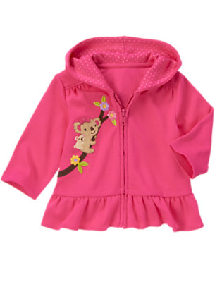 Baby Bright Pink Koala Hooded Cardigan by Gymboree
