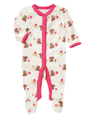 Baby Koala Pink Koala Flower Footed One-Piece by Gymboree